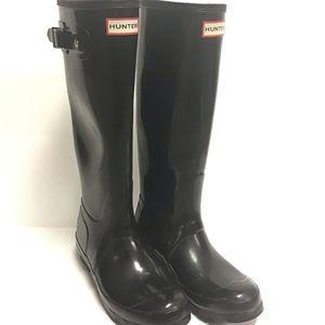 Hunter High Gloss Black Classic Rubber Knee Boot